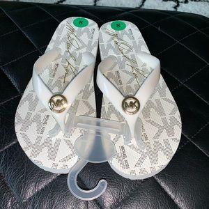 Michael Kors white flip flops size 8